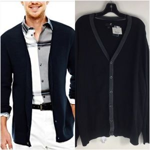 J.Ferra Black With Gray Trim Cardigan Sweater NWT